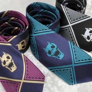 ジョジョの奇妙な冒険 吉良吉影 ネクタイ 紫×白黒 二色セット コスプレ小道具(送料無料)