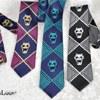 ジョジョの奇妙な冒険 吉良吉影 ネクタイ 紫×白黒×青 三色セット コスプレ小道具(送料無料)